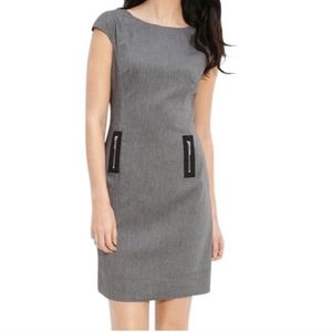 Eliza J Stretch DetailedTwill Zipper Shift Dress